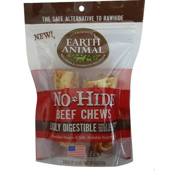 """Earth Animal s No-Hide Beef Chews open up a whole new world of delicious, healthy chews!  No-Hide Beef Chews are long-lasting, 100% digestible chews developed for your dog s enjoyment and your own peace of mind.  Made from American farm-raised beef w"""""""