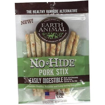 Earth Animal Dog No Hide Pork Stix 10 Pack {L-x}