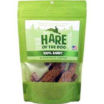Hare of the Dog are unabashed dog lovers!  They believe there is no better treat for your best friend than what Mother Nature intended - Rabbit!  They use pure muscle meat, skin and bones that's grinded and dried into jerky.  Mother Nature doesn't us""