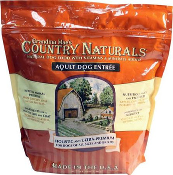 """Grandma Mae s Country Naturals Adult Dog Food is the perfect balance of proteins and other natural and holistic ingredients developed to ensure your pet receives the very best nutrition.  Especially recommended for picky eaters and dogs with sensitiv"""""""