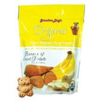 """Grandma Lucys Organic Baked Dog Treats Banana &amp Sweet Potato 14 oz Bag Grandma Lucys Organic Banana and Sweet Potato Dog Treats are made completely natural and baked by people not just in a factory.  These treats have humanquality ingredients that"""""""