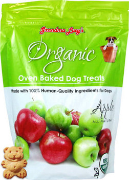 Grandma Lucys Organic Baked Dog Treats Baked Apple 14 oz Bag Grandma Lucys Organic Apple Treats are made completely natural and baked by people not just in a factory.  These treats have humanquality ingredients that your dogs will love!""