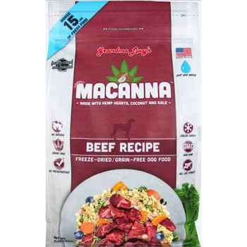 """Your dog will be doing the hula after eating the tropical-inspired feast that is Grandma Lucy's Macanna Beef Grain-Free Freeze-Dried Dog Food.  Made with a blend of superfoods like coconut, hemp hearts, kale, and turmeric this wholesome and delicious"""""""