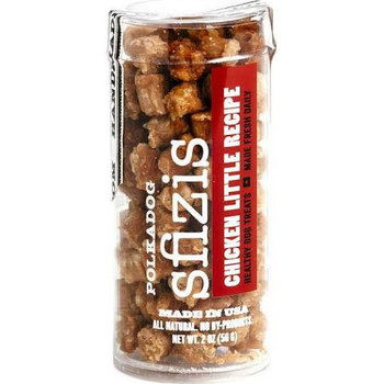 The crunchy texture and epic taste will bring tails wagging of joy!  Polka Dog slowly dehydrates USA sourced chicken along with brown rice and potato flour to provide bite sized snacks that will be hit in your home.  Sfizis are a great size for train""
