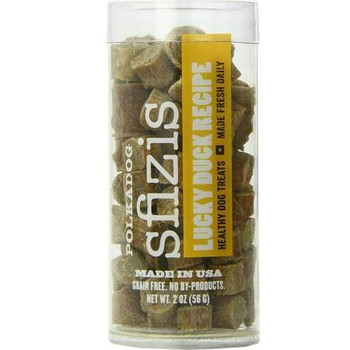 """Our Duck Little Sfizis Healthy Dog Treats are perfect for the waterfowl-obsessed dog that can't quite figure out how to capture one of those elusive winged masters of the water.  Made fresh daily with all-natural US duck and potato flour, these grain"""""""
