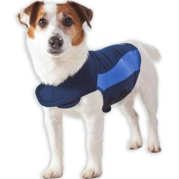 """With its patent-pending design, Thundershirt s gentle, constant pressure has a dramatic calming effect for most dogs if they are anxious, fearful or over-excited.  Based on surveys completed by over two thousand customers, over 80% of dogs show signi"""""""