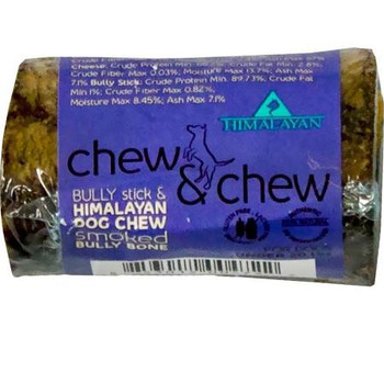 """Himalayan Dog Chew Chew Chew Smoked Bully Bone Small Our smoked Bully bone combines everything you need in a chew into one amazing treat It has the meaty Flavor of a bully stick, the healthy minerals of Himalayan Dog Chew and the durability of a smok"""""""