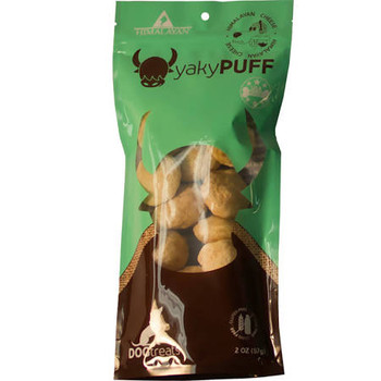 """Himalayan Dog Chew Yaky Puff Himalayan Cheese Dog Treats, 2-oz bag If your dog hasn t tasted the cheesy deliciousness of a Himalayan Dog Chew, it s time to treat him to some Yaky Puff Himalayan Cheese Dog Treats.  This ancient recipe uses traditional"""""""