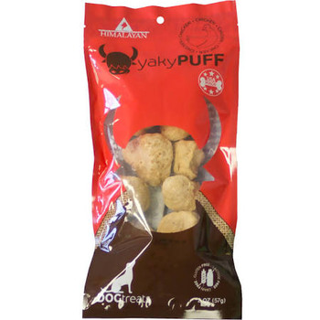 """Himalayan Dog Chew Yaky Puff Chicken Dog Treats, 2-oz bag If your dog hasn t tasted the cheesy deliciousness of a Himalayan Dog Chew, it s time to treat him to some Yaky Puff Chicken Dog Treats.  This ancient recipe uses traditional methods to create"""""""