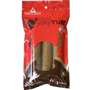 """Himalayan Dog Chew Yaky Yum Chicken Dog Treats, 3 count If your dog hasn t tasted the cheesy deliciousness of a Himalayan Dog Chew, it s time to treat him to some Yaky Yum Chicken Dog Treats.  This ancient recipe uses traditional methods to create an"""""""