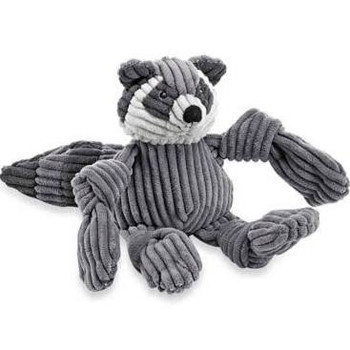 """Hugglehounds Raccoon Woodland Knotties dog toy features a great super soft corduroy plush material is a wonderful, irresistible fabric for dog toys.  Each arm and foot features a great knot to gnaw on and a squeaker to capture a pet's attention.  5 S"""""""
