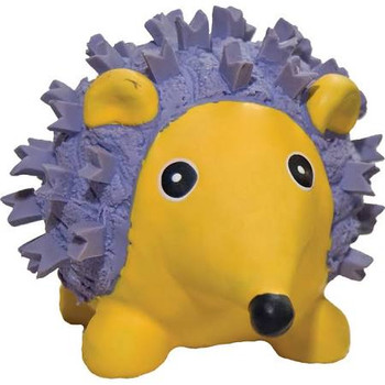 """Hugglehounds Ruff-Tex Mini Hedgehog dog toys are thick walled, flexible, 100% natural product.  Toys made with Ruff-Tex are safe, very, stretchable pals your dog will love for a long, long time.  Eyes and nose are painted with safe colorings.  Each t"""""""