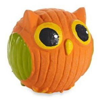 """HuggleHounds Ruff-Tex Poppy the Owl Dog Toy, MiniPoppy the Owl is a fun dog toy that is made with 100% Natural Rubber.  It features a loud squeaker and is bright in color.  HuggleHounds Ruff Tex Toys have thicker walls then most squeaker toys."""""""