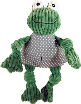 """Knotties are HuggleHounds oh-so-cute corduroy plush animals, with knotted limbs for gnawing and made with the exclusive Tuffut Technology, known for its durable, unique three layer construction and identified by its signature Firefly Green color.  It"""""""