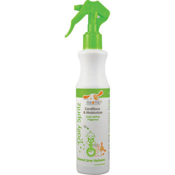 Nootie's Germ Fighting Daily Spritz is lightly scented with our Coconut Lime Verbena fragrance will keep your dog smelling fresh and clean between baths while conditioning the skin and coat.  It uses an all natural grapefruit seed extract to gently f""