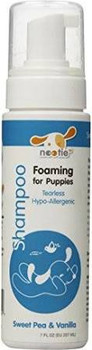 Nootie Sweet Pea &amp Vanilla Foaming for Puppies Tearless Formula Dog Shampoo, 7-oz bottle Nootie gives your puppy that extra loving care with their Foaming Shampoo for puppies.  A tearless, hypo-allergenic foaming formula gently cleans and easily""