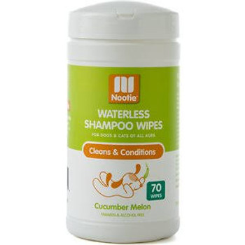 Nootie Cucumber Melon Waterless Shampoo Wipes For Dogs & Cats-70-ct-{L+x}