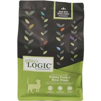"""Nature's Logic Feline Turkey Meal Feast Dry Cat Food, 3.3-lb bag Nature's Logic Turkey Meal Feast is a highly palatable and nutrient dense meat-based dry cat food with concentrates of select fruits and vegetables.  The kibble is specially coated wit"""""""