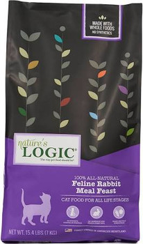"""Nature's Logic Rabbit Recipe Dry Cat Food, 3.3-lb bag Highly palatable and nutrient dense meat based dry foods with concentrates of select fruits and vegetables containing no wheat, corn, rice, soy or potato.  Nature's Logic Canine Lamb Meal Dinner"""""""