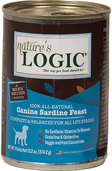 """Natures Logic Natural Sardine Can offers highly palatable and nutrient dense muscle meat and organ meat based can foods with concentrates of select fruits and vegetables and containing no wheat corn rice soy potato or chemically synthesized vitamins"""""""