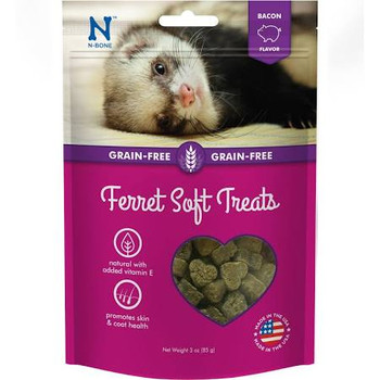 """Mm-mm, bacon!  While real bacon isn't the best food to give your ferret due to the high concentrations of salt and sugar, N-Bone Ferret Soft Treats, Bacon Flavor is the next best thing!  These delicious chew treats with real pork and natural bacon fl"""""""