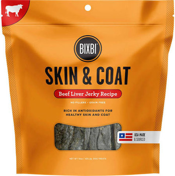 """BIXBI Skin &amp Coat Beef Liver Jerky Dog Treats, 15-oz bag Talk about a great hair day!  BIXBI Skin &amp Coat Jerky Treats are loaded with organic mushrooms that help support shiny, full-bodied coats.  Packed with enriching antioxidants, vitamins"""""""