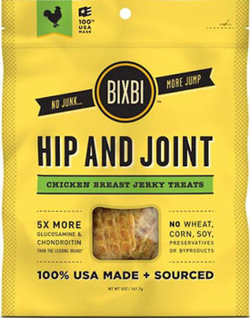 """Chicken Bixbi Hip and Joint treats help to support healthy hip and joint function.  No wheat corn soy preservatives or byproducts.  The only functional jerky with USA sourced non-shellfish derived glucosamine (200mg/treat) and chondroitin (100mg/trea"""""""