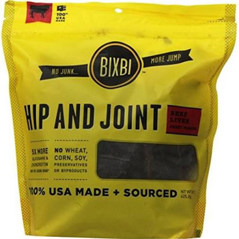 """100% USA MADE SOURCED Bixbi Hip and Joint Jerky is a tasty treat that you can feel great about giving to your dog.  It is a functional jerky"""""""