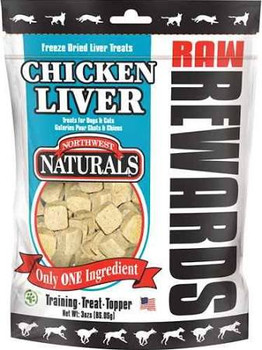 """Natural treats made from 100% freeze-dried beef, chicken, or lamb liver.  Packed with protein, vitamins and minerals."""""""