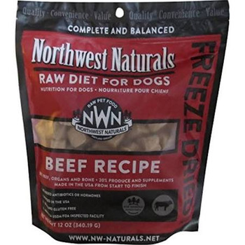 """Northwest Naturals Freeze Dried Nuggets are the same healthy formulas as our Raw Frozen Diets in freeze dried form.  A complete and balanced grain-free formula combining the wholesome nutrition of muscle meat organ meat raw ground bone fruits and veg"""""""