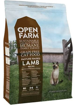 Open Farm Pasture Raised Lamb Grain-free Dry Cat Food Is Made From Pasture Raised Grass Fed Lamb From Pasture Raised Global Animal Partnership Step 4 Rated Lamb Farms Blended With Non-gmo Veggies And Legumes And A Nutritious Blend Of Coconut And Fish Oils
