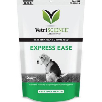 """Express ease from vetriscience is a natural and gentle way to manage anal gland health in dogs of all sizes.  Our formula includes 3 natural sources of fiber that help to maintain stool consistency and volume, encourage regular and proper bowel funct"""""""
