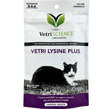"""Vetri Lysine Plus is a highly palatable chicken liver flavored soft chew formula designed to support immune system function.VetriScience Laboratories Vetri Lysine Plus is recommended to support immune system function, collagen formation, tissue repai"""""""