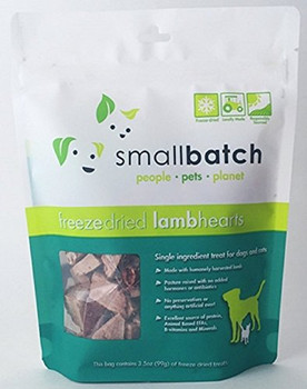 Small Batch Dog Cat Freeze Dried Lamb Hearts 3.5oz