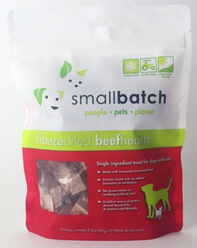 Small Batch Dog Cat Freeze Dried Beef Hearts 3.5oz