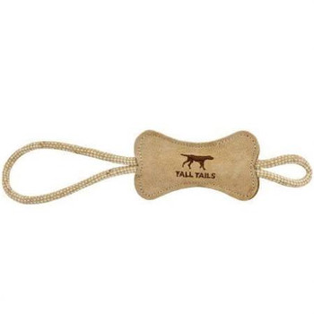 Tall Tails Dog Bone Tug Natural Leather 12 Inches {L-x}