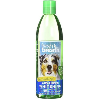 TropiClean Fresh Breath Oral Care Water Additive 16 FL OZ Advance Whitening Tropicleans natural Water Additive is developed to provide dogs and cats with essential daily oral hygiene care.  Without proper dental care 70 of dogs and cats start to show""