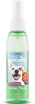"""Bad breath can be one of the First signs of oral disease.  In fact, 80% of dogs and 70% of cats show signs of oral disease by age 3.  Fresh breath berry fresh oral care spray quickly freshens breath, while supporting a bright smile, in fun flavors th"""""""