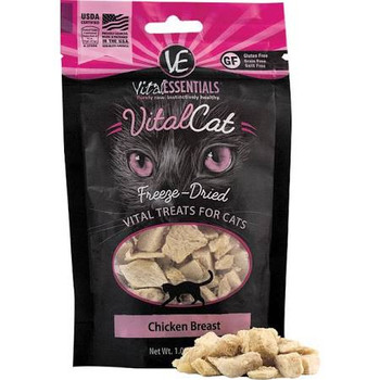 Vital Essentials Vital Cat Treats are packed with vital nutrients, made with only fresh, whole, single-sourced USDA animal protein to provide essential nutrition that cats instinctively crave.  A purr-fect way to reward your feline with healthy and n""