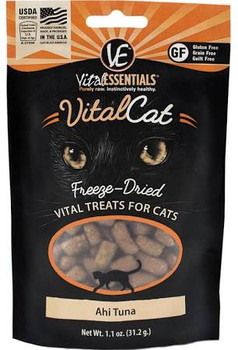 Vital Essentials freeze-dried cat treats are packed with vital nutrients, made with only fresh, whole, single-sourced USDA animal protein to provide essential nutrition that cats instinctively crave.  A purr-fect way to reward your feline with health""