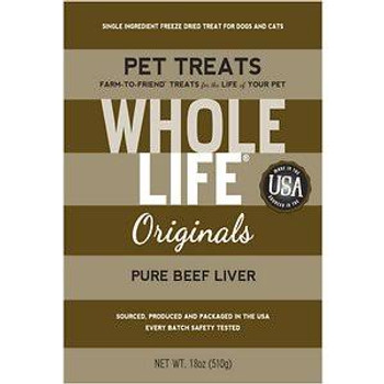 Whole Life Just One Grain Free Pure Beef Liver Freeze Dried Dog And Cat Treats-18-oz-{L+x}
