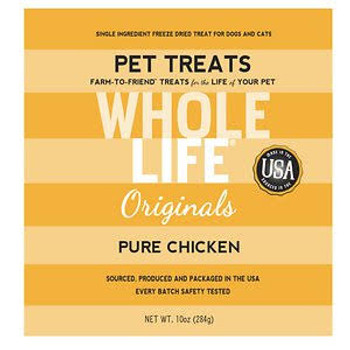 Whole Life Just One Grain Free Pure Chicken Freeze Dried Dog Treats-10-oz-{L+x}