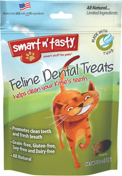 All natural, grain free tuna recipe cat treat that promotes clean teeth and fresh breath. Helps reduce plaque and tarter build up, only 2 calories per treat.