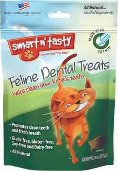 All natural, grain free catnip recipe cat treat that promotes clean teeth and fresh breath. Helps reduce plaque and tarter build up, only 2 calories per treat.