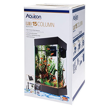 The 15 Column LED Aquarium Kit features a low-profile LED full hood that sits seamlessly over the aquarium frame for a stunning flat profile. Complete with high-quality components needed for a healthy aquatic environment including a preset submersible heater, QuietFlow LED PRO power filter, premium fish food, water conditioner, fish net and a thermometer. Plus, maintenance will be a snap with the QuietFlow LED PRO power filter which has an LED indicator that will start flashing when it's time to change the cartridge - no more guessing!  A taller, vertical aquarium view  Square footprint takes up less horizontal space  Bright white LED light hood for vibrant colors  Coordinating contemporary stand sold separately  Kit Includes: Size 15 Column Glass Aquarium Bright White LED Light Hood QuietFlow 10 LED PRO Power Filter Submersible 50W Preset Heater Medium Filter Cartridge Premium Fish Food Sample Water Conditioner Sample Fish Net Thermometer Setup Guide