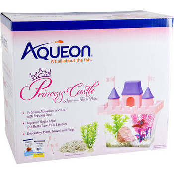 The Princess Castle Desktop Kit is a fun, bright and great for first time fish keepers. Each kit includes a half gallon clear acrylic vessel, pink castle-shaped top with feeding holes, purple steeples and pink flags. To get your decorating started gravel and a small plant are included, simply add more d??cor to customize your perfect princess castle. And to make set up even easier, samples of Aqueon Betta Food and Betta Bowl Plus water conditioner that instantly conditions tap water by neutralizing harmful chloramines, ammonia and heavy metals. This small aquarium is ideal for a single betta or small tropical fish. ƒ?› Half Gallon Princess themed desktop kitƒ?› The pink lid is castle shaped complete with purple steeples and a fish feeding holeƒ?› It includes decorative gravel and small plantƒ?› Betta food and betta bowl plus water samples also includedƒ?› Ideal for a single betta or small tropical fish