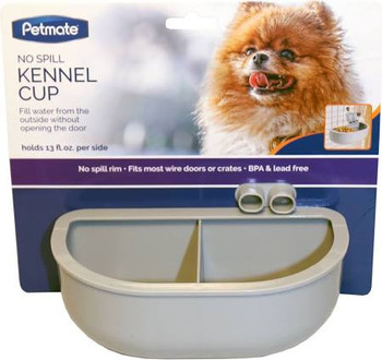 Petmate reg; No Spill Kennel Cups makes it easier to refill your pets water during travel than ever before! The No Spill Kennel Cup features a No Spill Rim and a funnel that allows pet parents to fill up the cup from the outside, without ever having to op