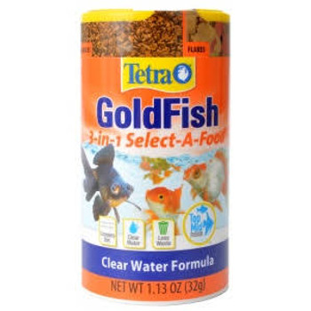 Tetra Goldfish 3-in-1 Food provides feed variety for your goldfish. With 2 chambers of flakes, 1 of shrimp and 1 of granules, your goldfish will love the variety of all their favorites. The cold water formula supports healthy goldfish digestion while providing the complete diet they need.