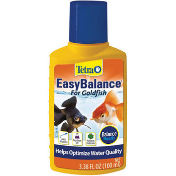 Tetra EasyBalance for Goldfish helps optimize water quality by regulating pH and alkalinity, adding vitamins, minerals and electrolytes and reducing phosphates. Use as a monthly balance for vibrant, active goldfish.