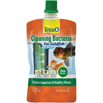 Tetra Cleaning Bacteria for Goldfish is formulated for monthly use to keep your aquarium and gravel clean. Live bacteria- dual function to reduce sludge/ debris and boost filter performance to remove ammonia and nitrite.